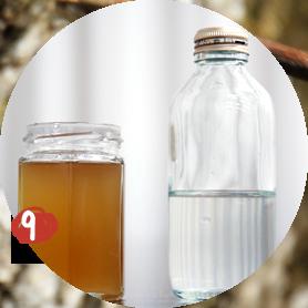 20ℓの樹液から400㎖のシロップができました!右:原液。左:メイプルシロップ